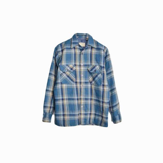 Vintage 1970s Blue Plaid Shirt Jacket / Rugged Lumberjack Shirt - men's small