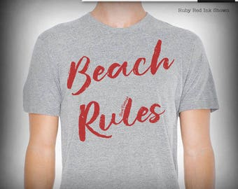 Beach Rules typography graphic tee, summer tees, custom quotes print, custom tees, t-shirt, gift for him, beach lover