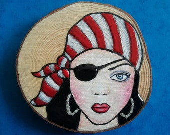 A pirate girl painted with acrylic paint on wood, sunnymixedmedia