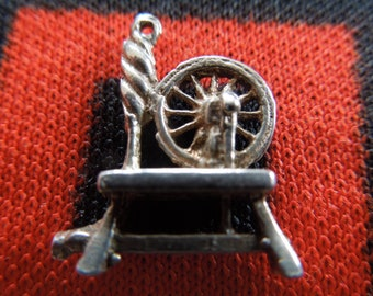 Sterling Spinning Wheel Charm Vintage Spinning Wheel Charm Sterling Silver Charm for Bracelet from Charmhuntress 05313