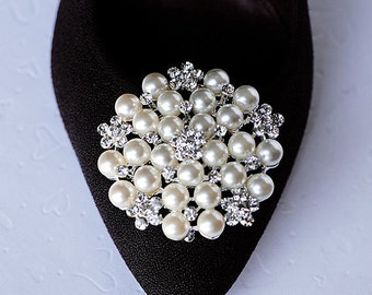 Bridal Shoe Clips Pearl Crystal Rhinestone Shoe Clips Wedding Party (Set of 2) SC034LX