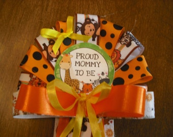 Jungle safari Mommy To Be baby shower Corsage