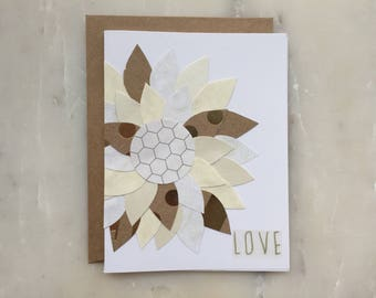 Flower Card - Valentine's Card, Love Card, Wedding Card, Flower Design Card