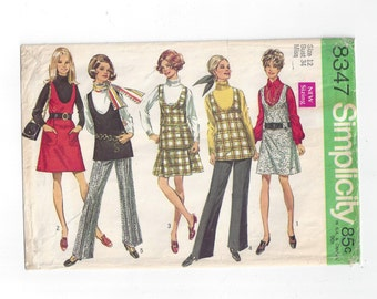 Simplicity 8347 Pattern for Misses' Jumper or Tunic, Skirt, & Pants, Size 12 From 1969, Very Low Round Neckline on Jumper, Classic 1960s