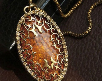 Gold Amber Long Pendant Necklace
