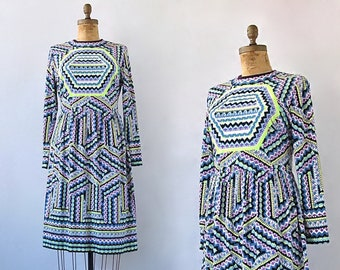 MR DINO Vintage 60s Dress | 1960s Psychedelic Op Print Jersey Knit Dress | Midi Length, Geo | Hippie Chic, Mod, Boho, Designer | Size Large