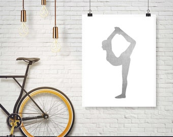 Instant Download - Gray Watercolor Gymnast Gymnastics Scale Balance  -  Wall Art Print Home Decor Poster