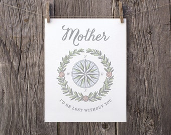 Mothers Day Printable, Mother I'd Be Lost Without You, Printable Mothers Day Gift, Gift for Mom, Gray and White Print