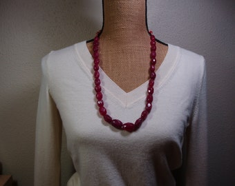 Genuine Earth Mined 489.00 Carats of Rich Red Brazilian Red Ruby Faceted Gemstones Necklace