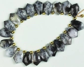 20 piece faceted DENDRITE OPAL FANCY beads 10 x 17 mm approx