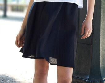 Black linen skirts,Midi skirt,Circle skirt,50s skirt,High waisted skirt,Women linen clothing, Simple skirt,handmade in Australia