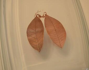 Large Copper Leaf Earrings