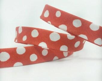 Organic Cotton Bias Tape -  1/2 in Double Fold Bias Tape - 12mm - Red Polka Dot - Monaluna Organic Cotton Poplin - Cottage Garden Fabric