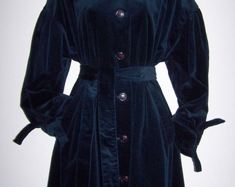 Laura Ashley vintage Edwardian styled, English-country navy-corduroy elegant oversize coat