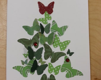 "5"" x 7"" Blank Butterfly Xmas tree Cards"