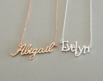 Dainty Name Necklace • Personalized Name Necklace in Sterling Silver • Children Name Necklace • Bridesmaid Gift • Mother's Gift • NH02F31