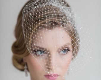 Wedding Beaded Birdcage Veil, Birdcage Veil with scattered Crystals and Pearls, Bridal Veil, Wedding veil, Wedding Birdcage