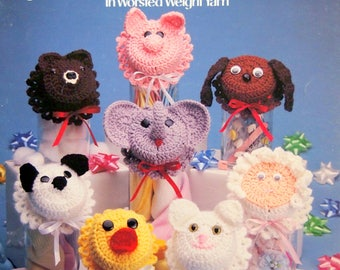 Baby Face Jar Lid Covers 8 Designs To Crochet By Terry Kimbrough Vintage Crochet Pattern Leaflet 1989
