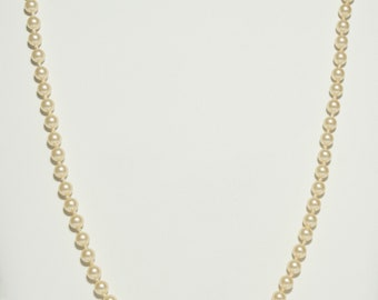 """Vintage Knotted Simulated Ivory Pearl Beaded Necklace ~ Elegant Knotted Cream Pearl 30"""" Necklace ~ Classic Pearl Necklace ~ Costume Jewelry"""