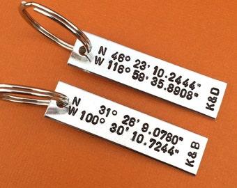 GPS Coordinates WIth Initials Set of 2 Hand Stamped Keychain Aluminum Gift Longitude Latitude Favorite Place Map Location Custom