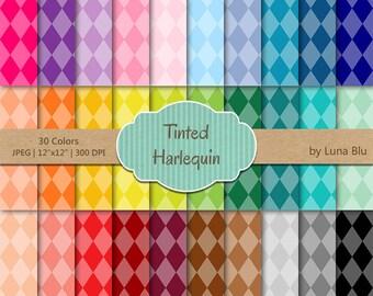 """Harlequin Digital Paper pack: """"Tinted Harlequin"""" digital paper bundle, Harlequin scrapbook paper, set of 30, commercial use, mega pack"""
