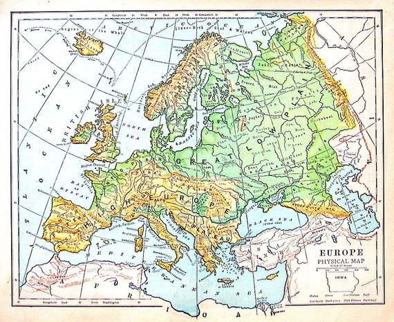 Mappa di europa cartina fisica antica mappa datata 1888 - Mappa di ungheria ed europa ...