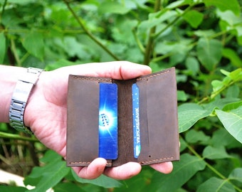 Leather card holder groomsmen Credit card keeper Mens thin leather wallet Brown leather bi-fold wallet Slim wallet Father gift Simple wallet