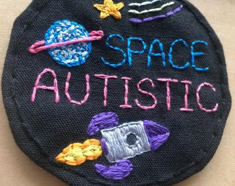 Space Autistic, Autism, Autistic Pride Patch. Outer Space. Spaceship. Rocket. star. planet. Handsewn. Customize. Stick On or Sew On.