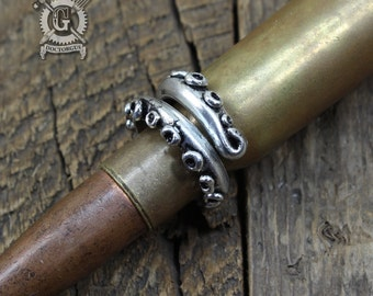 Tentacle Ring - Handmade Artisan Pewter - Octopus Tentacle Ring - Squid Tentacle Ring - Adjustable - Steampunk Cephalopod Jewelry Doctorgus