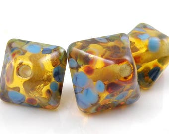 Golden Age Crystal Trio SRA Lampwork Handmade Artisan Glass Donut/Round Beads Made to Order 15mm and 18mm