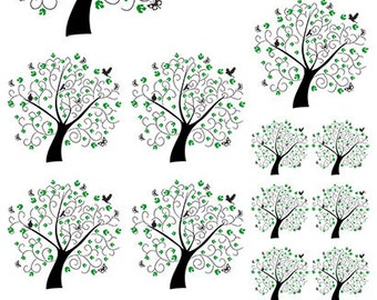 Trees, Birds and Butterflyies  - Ceramic Waterslide Decal - Enamel Decal - Fusible Decal - 81011