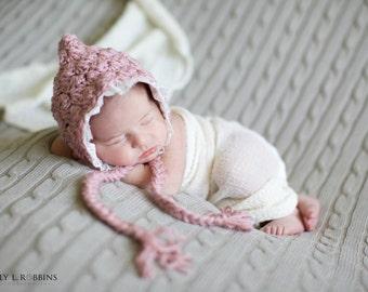 Lace Knit Bonnet Newborn Girl Hat Crochet Baby Bonnet Newborn Photo Prop