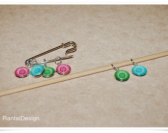 Stitch markers for Knitting mandala ring Stitchmarker Mandala Ring Marker
