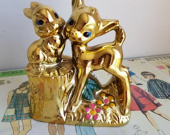 Vintage Disney style Bambi Thumper Deer Rabbit gold painted money box Japan figurine kitsch nursery decor woodland creatures 1950s