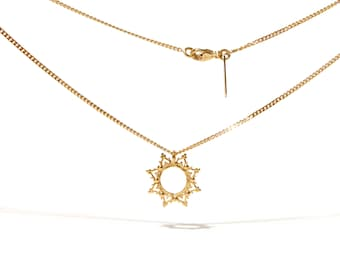 READY TO SHIP. La Dentelle sun gold plated necklace. Vermeil, yellow gold or rose gold over silver.