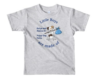 Toddler Little Boys are made of Snips and Snails & Puppy Dog Tails Dark Blue Short sleeve kids t-shirt