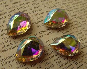 Titania Crystal AB 18X13mm Glass Pear Gems 4 Pcs