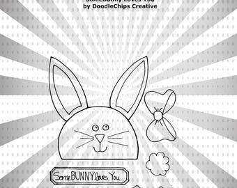 SomeBUNNY Loves You Memorydex Card Embellishment Digital Stamp