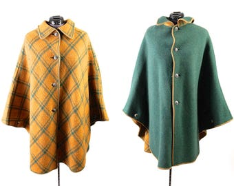Vintage Green Reversible Wool Cape, Yellow & Green Plaid