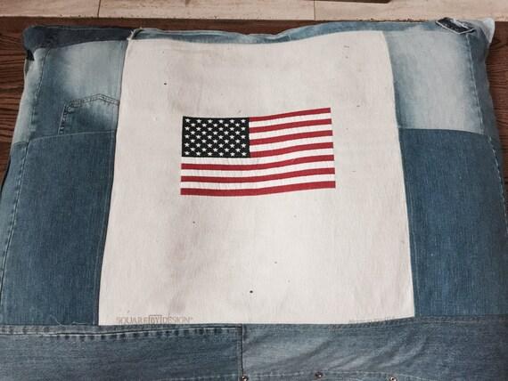 Dog Bed, Denim Dog Bed, American Flag Dog Bed, Super Huge Denim American Flag Dog Bed