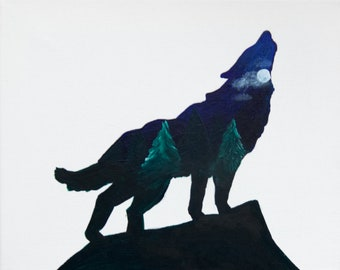 Wolf Silhouette Painting