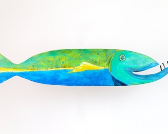 Timber Fish Townley, wooden fish, painted wooden fish, fish art, fish gift, painted fish, beach art, island art, wooden beach art, colorful