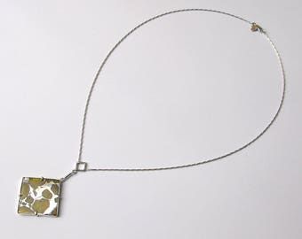 Unique Imilac Pallasite Meteorite Necklace with 9ct Solid White Gold Barleycorn Chain and Setting