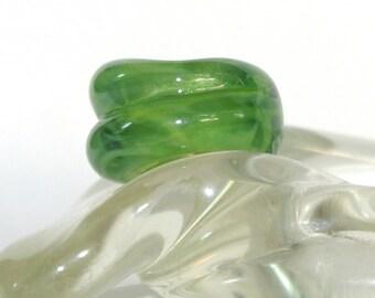 Kiwi Green Lampwork Glass Bead fits all European Big Hole Bead Bracelets -  BHB