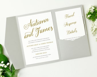 Pocket Wedding Invitation Template - INSTANT DOWNLOAD | Romantic Script | Edit in Word or Pages | Print it Yourself | Mac & PC