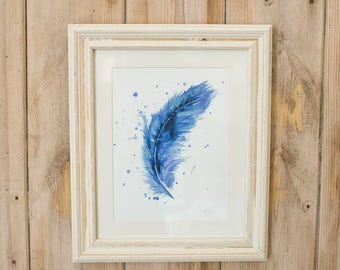 Blue Feather print