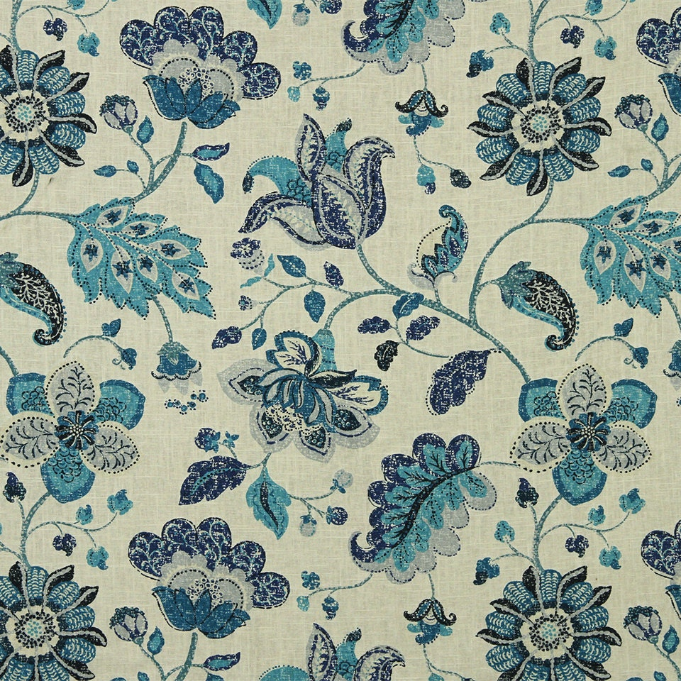 Navy Blue Grey Floral Linen Upholstery Fabric Modern Blue