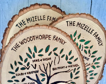 Custom Family Tree Pyrography Tree Painting on Basswood