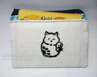Cute Cat, maneki neko coin purse, portefeuille, women wallet, cardholder id173902, stamp, hand painted, travel organizer, zipper pouch