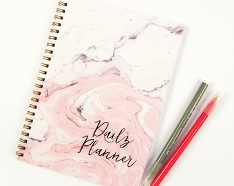 Marble Planner Notebook, SECOND Quality, To Do List Notebook, Daily Planner Notebook, Spiral Notebook, Pink Notebook Planner, Undated